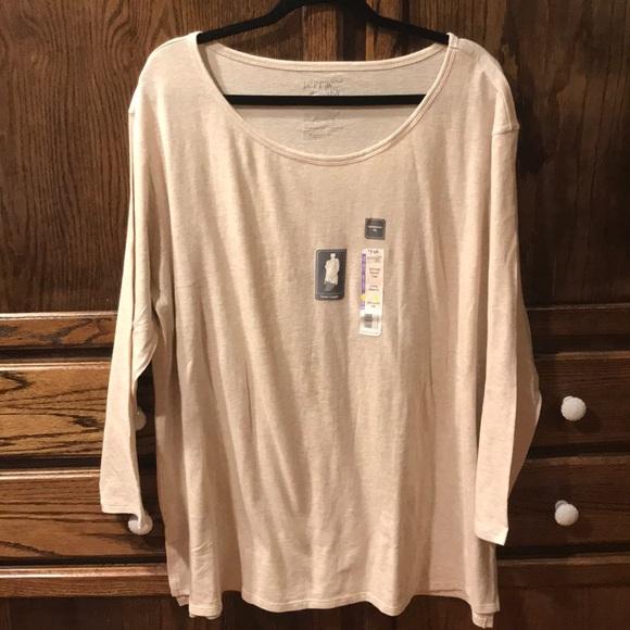 Terra /& Sky 3X 24W-26W Generous Fit Cream Long Sleeve Shirt